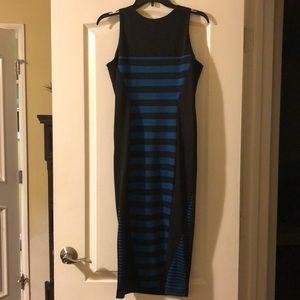 Nicki Black and blue pencil dress